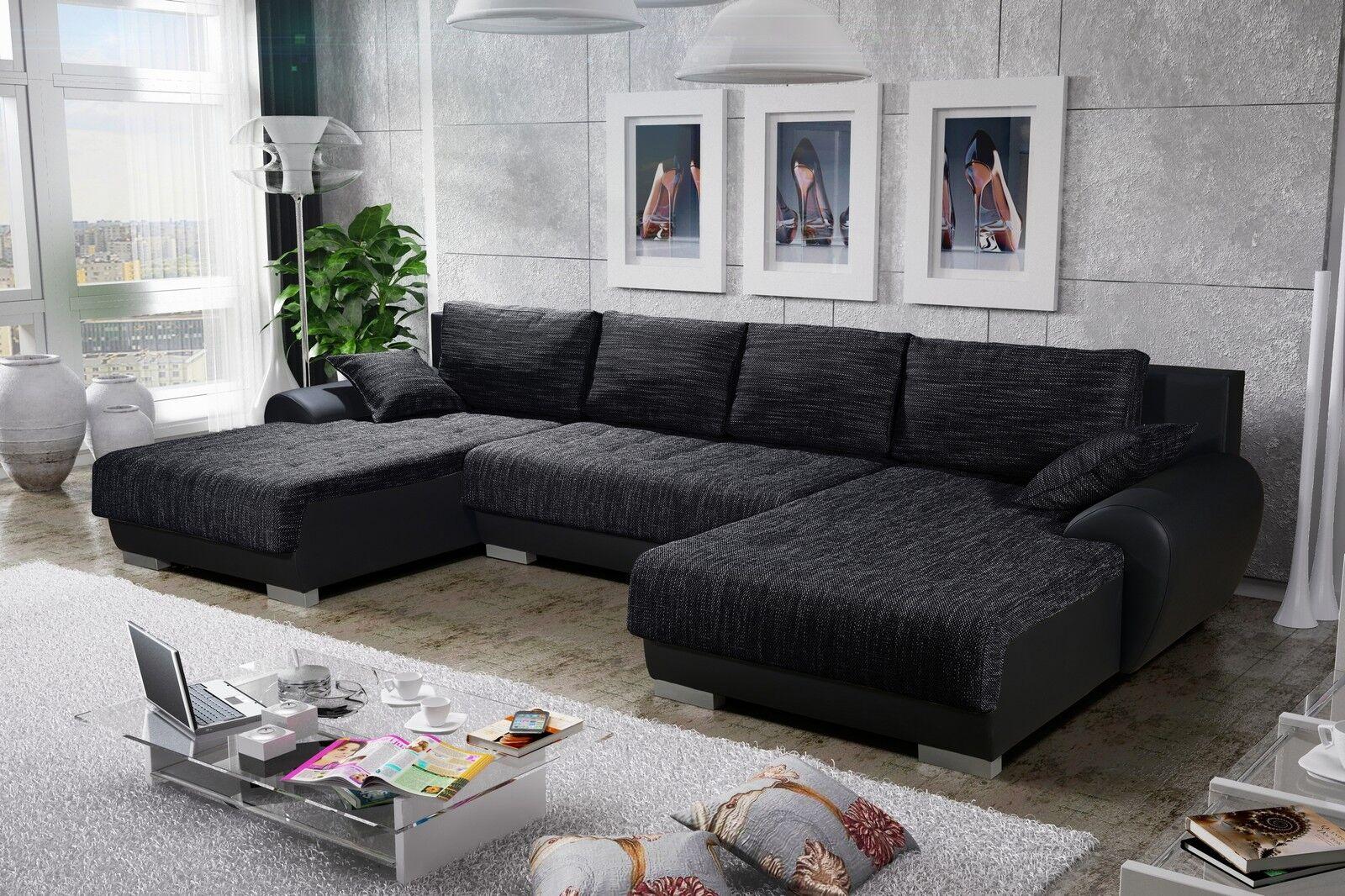 Wohnlandschaft mit schlaffunktion  Sofa Couchgarnitur Couch LEON 3 U Polsterecke Wohnlandschaft mit ...