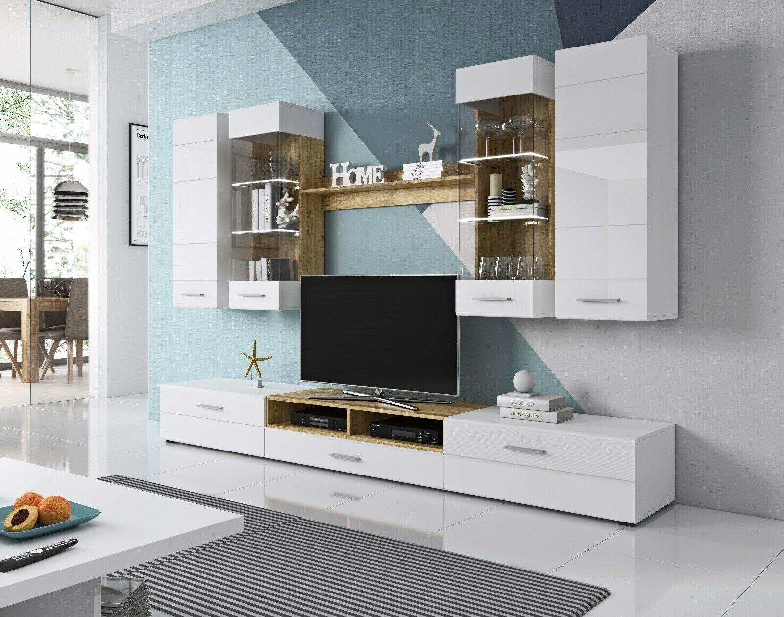 Wohnwand Anbauwand Wohnzimmer Möbel TV-Wand RHODOS inkl. LED 4 Pkt.  Beleuchtung
