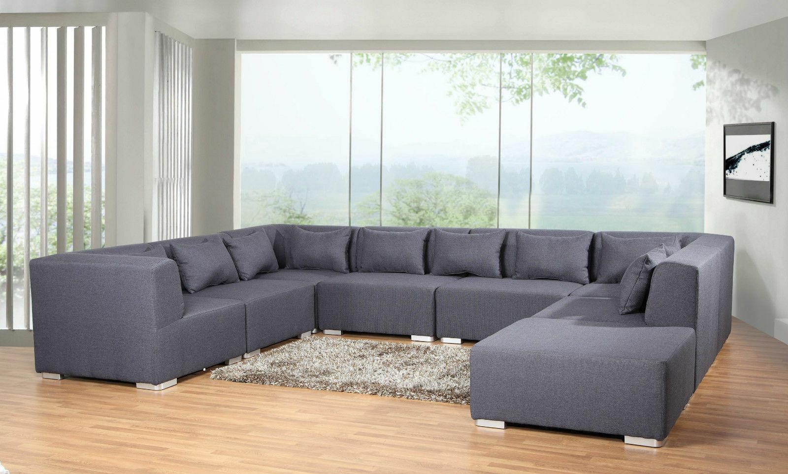 Couchgarnitur Big Sofa 8 TEILE Modulsofa Wohnlandschaft Ecksofa Polsterecke  1 ...