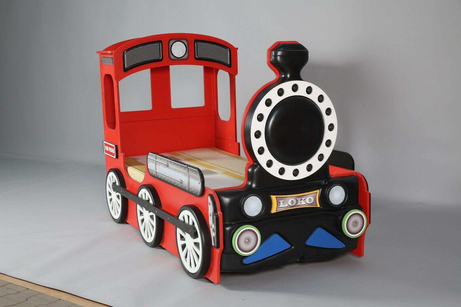 Kinderzimmer Bett Kinderbett Lokomotive Blau Grun Rot Gelb Inkl