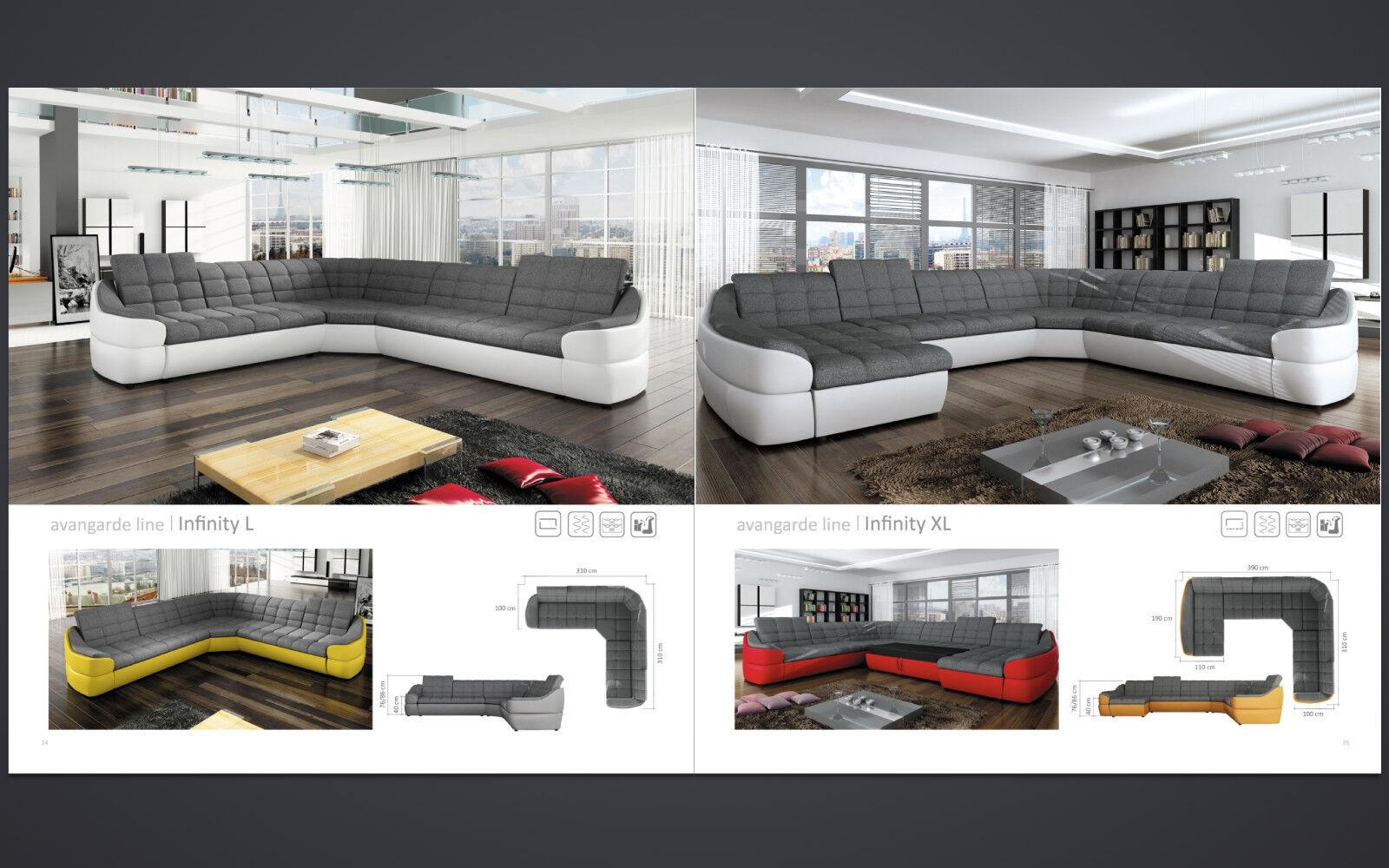 couchgarnitur infinity xl u sofa mit schlaffunktion couch polsterecke ecksofa kaufen bei. Black Bedroom Furniture Sets. Home Design Ideas
