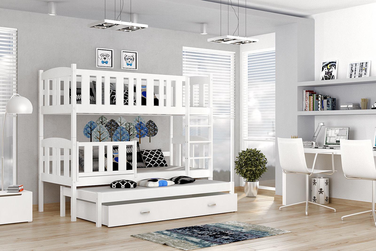 Etagenbett Für 3 : Etagenbett hochbett jakob farbe weiß mit einer schublade