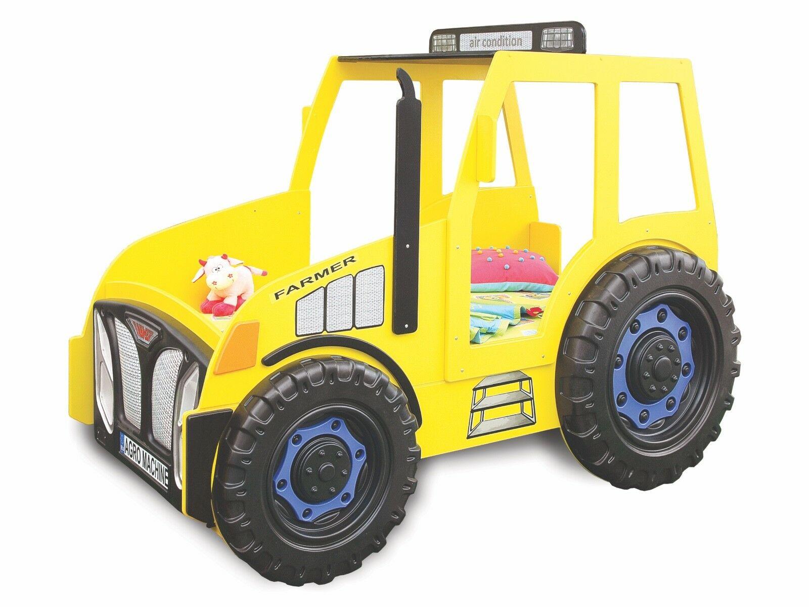 Kinderzimmer Bett Kinderbett Traktor In Blau Grun Rot Gelb Inkl