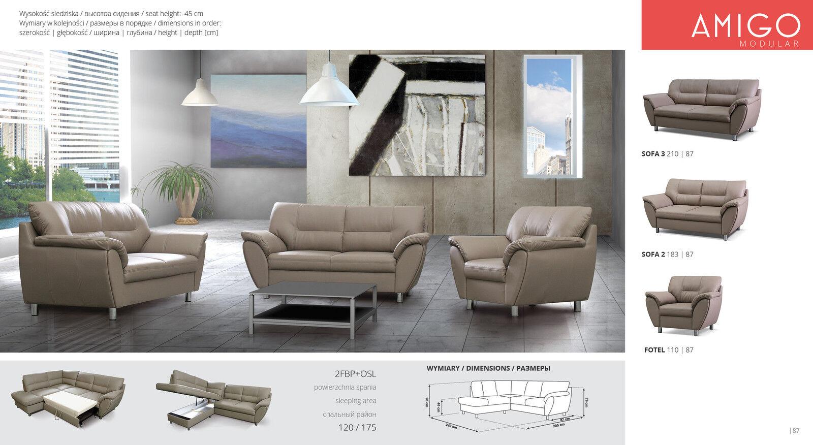Sofa Couchgarnitur Couch Amigo 321 Set Polsterecke Wohnlandschaft