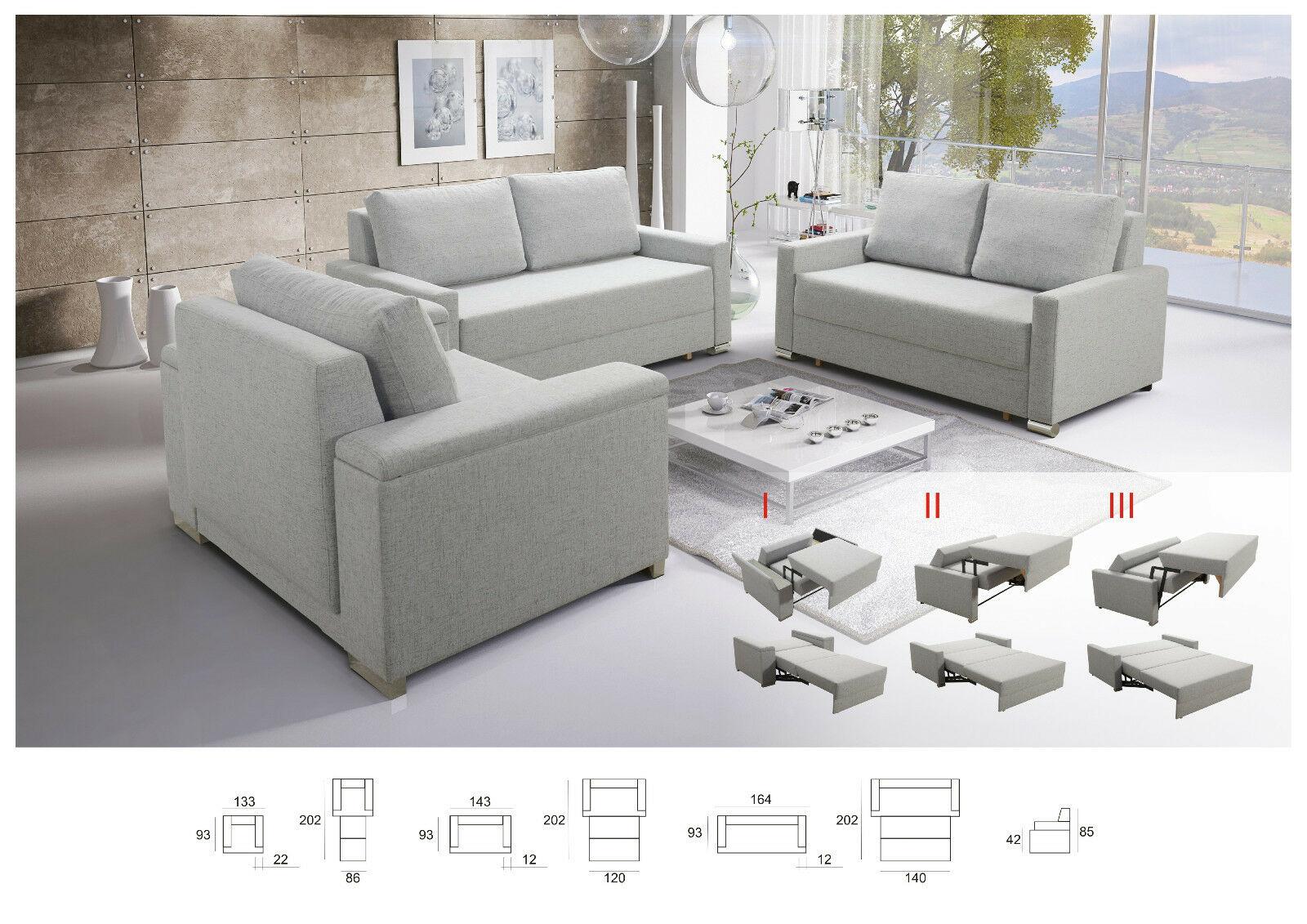 Sofa Set 321 Buffalo Mit Schlaffunktion Couchgarnitur Couch