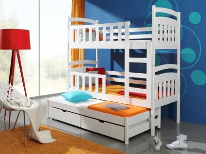 Etagenbett Hochbett Kinderbett Doppelbett VIKI 90x200 cm unschädlich lackiert