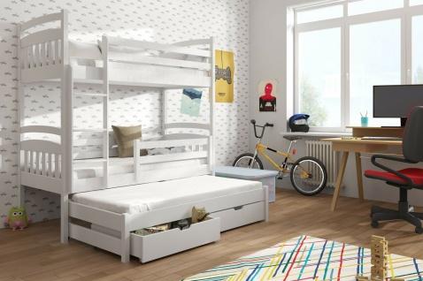 Etagenbett Hochbett Kinderbett Doppelbett ALAN 90x190 cm unschädlich lackiert