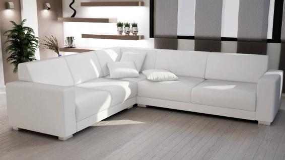 Couch Garnitur Ecksofa Sofagarnitur Sofa SORRENTO white Wohnlandschaft