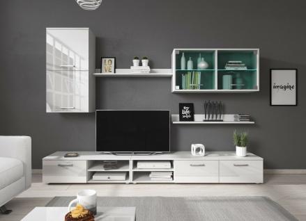 Wohnwand Anbauwand Wohnzimmer Möbel TV-Wand Klara inkl. LED 2 Pkt. Beleuchtung