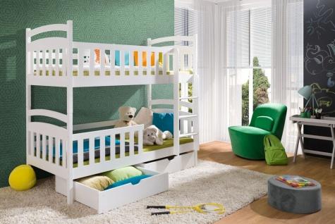 Etagenbett Hochbett Kinderbett Doppelbett LILLI NEW 80x180 unschädlich lackiert