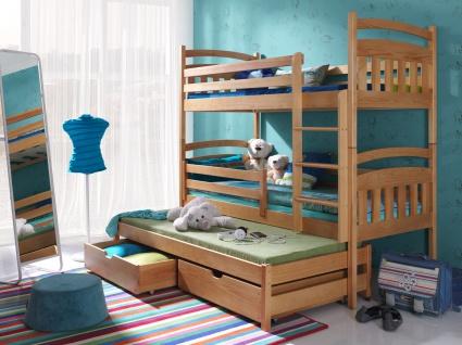 Etagenbett Hochbett Kinderbett Doppelbett ALAN 80x180 cm unschädlich lackiert