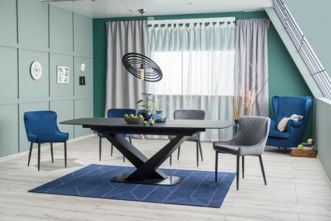 Esstisch Wohnzimmertisch Tisch CASSINO 1, 90x160/220 cm Glass Platte gehärtet