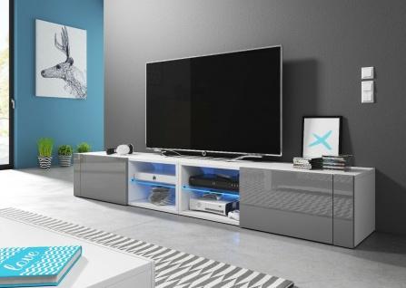 HIT2 double 200 cm Sideboard Lowboard TV Fernsehschrank inkl LED Highboard - Vorschau 2