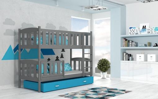 Etagenbett Hochbett JAKOB grau /blau 184x80 unschädlich lackiert Kinderbett NEU