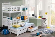 Etagenbett Kinderbett VIKI new für 3 Pers. Stockbett unschädlich lackiert 90x190