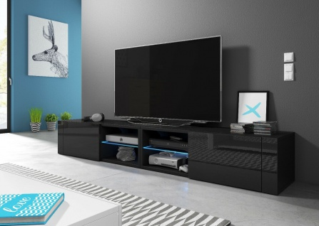 HIT2 double 200 cm Sideboard Lowboard TV Fernsehschrank inkl LED Highboard - Vorschau 5