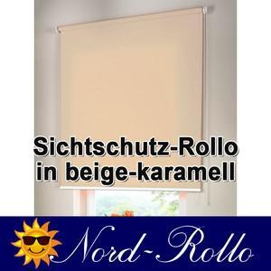 Sichtschutzrollo Mittelzug- oder Seitenzug-Rollo 222 x 110 cm / 222x110 cm beige-karamell
