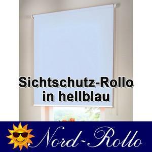 Sichtschutzrollo Mittelzug- oder Seitenzug-Rollo 222 x 170 cm / 222x170 cm hellblau