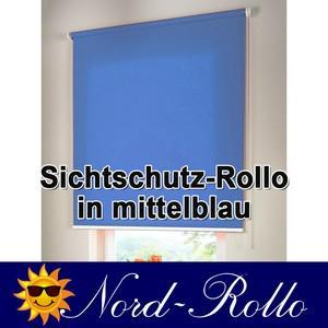 Sichtschutzrollo Mittelzug- oder Seitenzug-Rollo 242 x 110 cm / 242x110 cm mittelblau