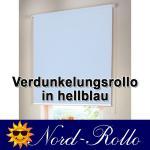 Verdunkelungsrollo Mittelzug- oder Seitenzug-Rollo 122 x 180 cm / 122x180 cm hellblau