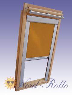 Verdunkelungsrollo Rollo Thermo gelb mit Seitenschienen für Velux DG-EP VL, VG, VX 109 ALU