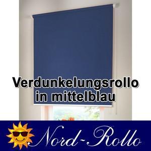 Verdunkelungsrollo Mittelzug- oder Seitenzug-Rollo 130 x 190 cm / 130x190 cm mittelblau - Vorschau 1