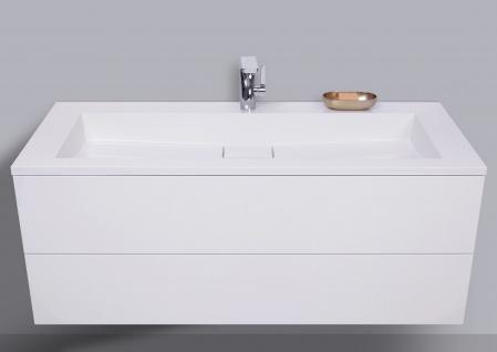 Badmöbel Set grifflos CUBO 1200 mm Waschtisch Evermite, Unterschrank und Led Spiegel - Vorschau 2