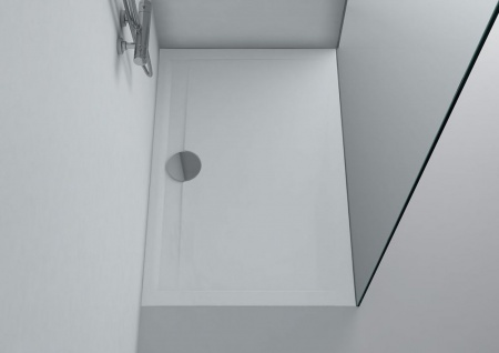 Duschwanne 140 x 80 x 3 cm MESSINA Mineralguss Duschtasse flach bodengleich inkl. Ablaufgarnitur