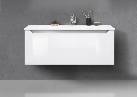 Badmöbel Set grifflos 120 cm Waschbecken, Unterschrank mit Led Lichtspiegel - Vorschau 4