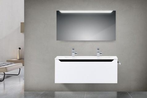 Design Badmöbel Set 120 cm Doppelwaschtisch Griffleiste: Schwarze Hochglanz