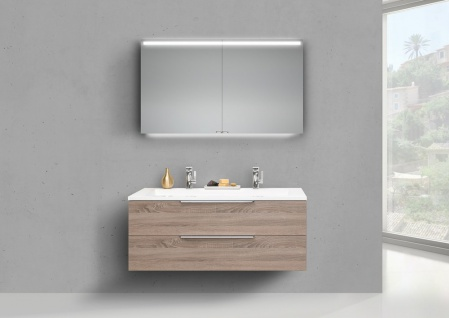 Intarbad Cubo 1200 Doppelwaschbecken mit Unterschrank und Led Spiegelschrank