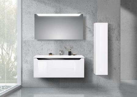 Monza Badmöbel grifflos 120 cm Waschtisch, Led Lichtspiegel und Seitenschrank