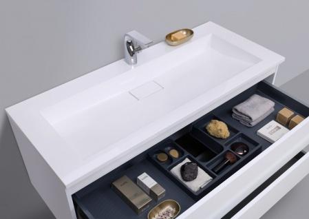 Badmöbel Set grifflos CUBO 1200 mm Waschtisch Evermite, Unterschrank und Led Spiegel - Vorschau 4