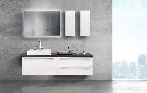 Waschtischplatte mit Waschbecken und Lichtspiegel Design Badmöbel Serie Luxor