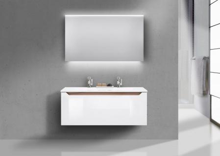 Badmöbel Set grifflos 120 cm Doppelwaschtisch, inkl. Led Lichtspiegel