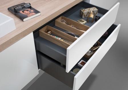 Badmöbel Set grifflos, Waschtischplatte nach Maß bestellbar, mit LED Spiegelschrank - Vorschau 3