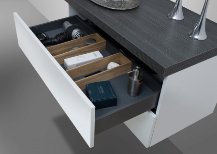 Badmöbel LUXOR grifflos 180 cm , Waschtischplatte nach Maß, weiß hochglanz - Vorschau 2