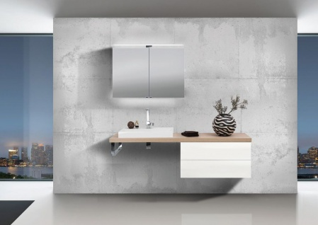 Badmöbel Set grifflos, Waschtischplatte nach Maß bestellbar, mit LED Spiegelschrank