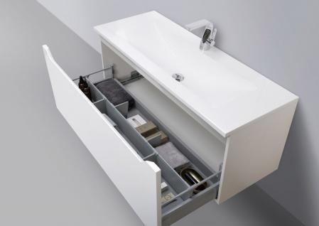 Badmöbel Set grifflos 120 cm Waschbecken, Unterschrank mit Led Lichtspiegel - Vorschau 3