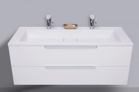 Badmöbel Set Intarbad CUBO 120 cm Doppelwaschbecken, Unterschrank und Led Spiegel - Vorschau 2