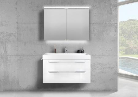 Badmöbel Set 100 cm Waschtisch Evermite, mit Spiegelschrank LED, weiß HG