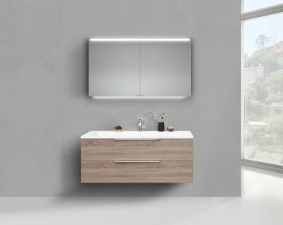Badmöbel Set CUBO 120 cm Evermite Waschtisch, mit Led Spiegelschrank