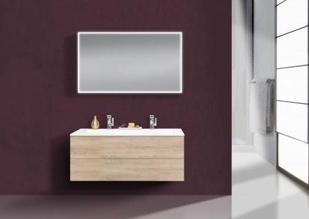 Intarbad CUBO Design Badmöbel Set grifflos, 120 cm Doppelwaschtisch Evermite