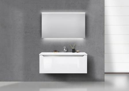 Badmöbel Set grifflos 120 cm Waschbecken, Unterschrank mit Led Lichtspiegel