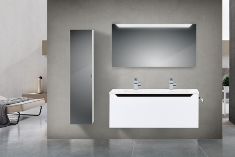 Design Hochglanz Badmöbel Set 120 cm Doppelwaschtisch Griffleiste: Schwarz Hochglanz