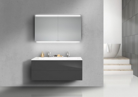 Badmöbel Set grifflos Cubo 120 cm Doppelwaschtisch, mit Unterschrank und Led Spiegelschrank