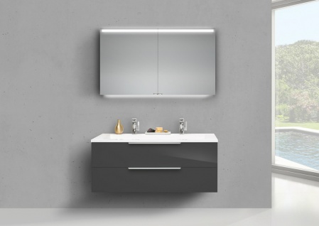 Badmöbel Set Cubo 120 cm Doppelwaschtisch, mit Unterschrank und Led Spiegelschrank