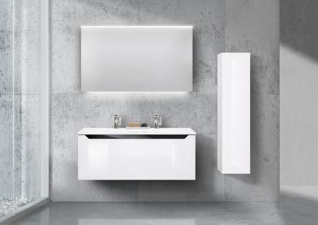 Badmöbel Set 120 cm Doppelwaschtisch, mit Seitenschrank und Led Lichtspiegel