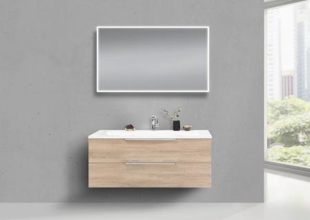 Badmöbel Set CUBO 1200 mm Waschtisch Evermite, Unterschrank und LED Spiegel