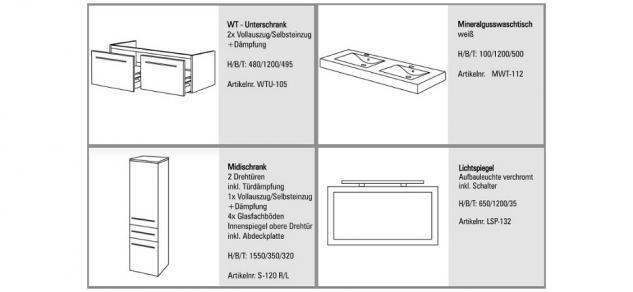 BadmÖbel Set Komplett BadezimmermÖbel Design Badset 120 Cm Doppelwaschtisch Neu - Vorschau 2